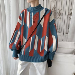 QRWR 2020 Autumn Winter New Sweater Men Casual O-neck Warm Sweaters Fashion Loose Knitwear Pullovers Personality Streetwear