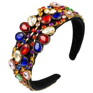 Baroque Female Luxury Jewelry Hair Hoop Colorful Water Drop Faux Crystal Bandana Glitter Rhinestone Prom Retro Headdress