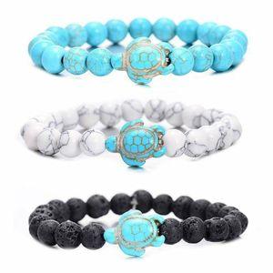 Summer Style Sea Turtle Beads Bracelets For Women Men Classic 8MM Turquoise Lava Stone Elastic Friendship Bracelet Beach Jewelry