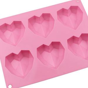 Kalp şeklinde Silikon Kalıplar Üç Boyutlu Silikon Sabun Kalıp 6 Şirketler Buz Küp Kalıpları Kek Dekorasyon Malzemeleri CCD3500
