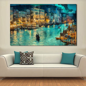 JQHYART Una piccola città di notte Moat Building Ship Painting Canvas Wall Art Picture su Stampe Poster Home Decor Canvas No Frame T200608