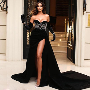 Sexy Black Velvet Mermaid Evening Dresses Sweetheart Pleat High Side Split Long Cocktail Prom Dress 2021