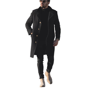Lanas para hombre suelta mezclas de color sólido de un solo pecho casual abrigos de color negro color invierno hombre diseñador ropa exterior ropa