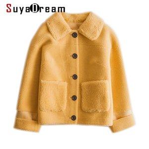 SUYADREAM ручной работы женские ямбвуловые пальто Сплошные однобортные шерстяные смесиные сливки имбирь зимнее пальто