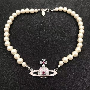 Pink Saturn pearl necklace female ins simple niche retro light luxury glass beads wild clavicle women's chain chocker