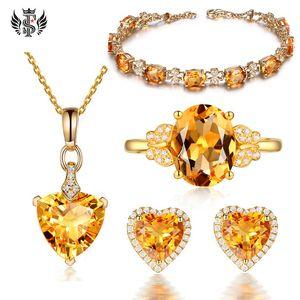 Fashion Small Fresh Citrine Bracelet 18k Golden Diamond Ring Yellow Sapphire Heart-shaped Earrings Simple Love Necklace Set