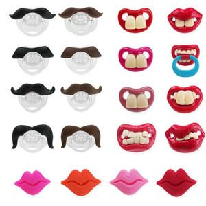 Silikon Emzik Komik Emzik Emzik Sakal Dişleri Kırmızı Dudaklar-Şekilli Meme Yürüyor Bebek Çocuklar Komik Emzik DHE3927