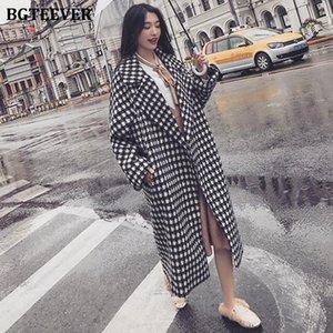 BGTEEVER Fashion Loose Warm Houndstooth Woolen Coats Women Overcoats 2020 Winter Lapel Full Sleeve Pockets Female Cardigan Coats