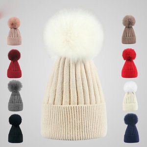 9 Colors Winter Double twist Beanie Knitted Big Rabbit Hair Fur Pom Poms Hat Women Cap Headgear Headdress Head Warmer Top Quality