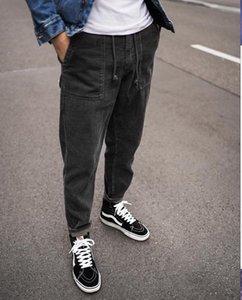 رجل كودري الرباط الحريم السراويل جيب يتأهل سراويل اللون الصلبة أوم سكيت السراويل السراويل عارضة
