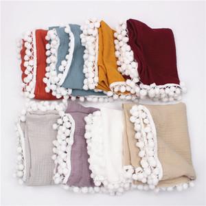 Solid Color Tassels Balls Blanket Baby Newborn Soft Swaddling Towel Kids Boys Girls Blankets Bed Accessories 24 5zd2 N2