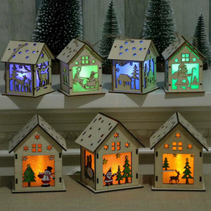 Candle light Christmas Wood House Christmas log cabin Hangs Wood Craft Kit Puzzle Toy Home Christmas Decorations gift