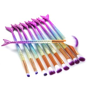 10PCS Mermaid Makeup Brushes Set Foundation Blending Powder Brush Eyeshadow Contour Concealer Blushes Cosmetic Makeup Tool GGA1862