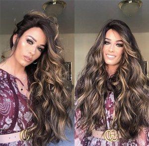 Красочный парик Новый Женский парик Большая Волна Длинные вьющиеся волосы окрашенные коричневые синтетические волокна парик