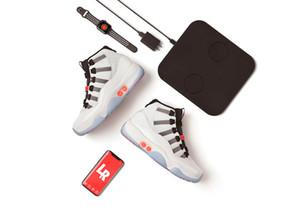 2021 Новейшие Аутентичные 11 Высокий OG Адаптация Автоматические кружевы Самоследие Реальное углеродное Волокно Красные Многоцветные Мужчины Обувь на открытом воздухе Спортивные кроссовки