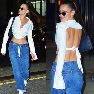 autumn fall women white shirt crop top button cardigan long sleeve open back hollow out cut out blouse backless tie streetwear