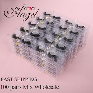 Faux Mink Lashes Wholesale 100 Pairs 3D Mink Lashes Make Up Extension For Beauty Natural Eyelashes Silk Bulk