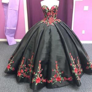 Black Bordado Charro Quinceañera Vestidos Sleetheart Lace-Up Satin Mexican Sweet 15 Vestido Bola Bola Vestido fiesta de fiesta