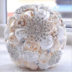 White Bridal Wedding Bouquet de mariage Pearls Bridesmaid Artificial Wedding Bouquets Flower Crystal buque de noiva 2020