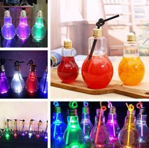 Home Bar Drinkware Tool Light Bulb Beverage Bottle Milk Tea Bottle Plastic Juice Drink Bottle Creative Luminescence Cup With Straw 9063