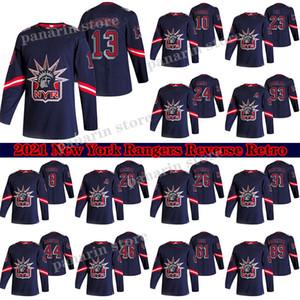 New York Rangers Jersey 2020-21 Reverse Retro 13 Alexis Lafreniere 24 Kaapo Kakko 10 Artemi Panarin 93 Zibanejad 23 Fox Hockey Jersey