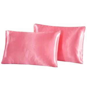 A-Satin Pillowcase Home Multicolor Ice Silk Sofa Case Solid Color Double Face Envelope Pillow Cover 51*66cm 8color