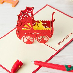 3D Laser Cut Handmade Baby Carriage Parent Baby Shower Party Paper Invitation Greeting Cards Post Card Creative Gift Souvenir