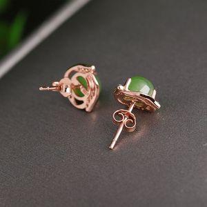 natural Jasper Hetian and jade earrings with certificate 925 sterling silver rose gold Hetian jade earrings
