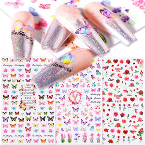 3D Butterfly Sliders Nail Stickers Colorful Flowers Red Rose Adhesives Manicure Decals Nail Foils Tattoo Decorations Wholesale