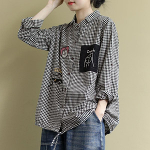 2020 Spring New Arts Style Women Long Sleeve Loose Shirts all-matched Casual Plaid Turn-down Collar Blouses Blusa Feminina S611 Y1112