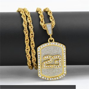 2020r European and American hiphop glitter 23 army brand Necklace dog brand Rhinestone hip hop pendant personalized jewelry