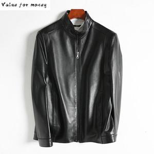 Men's Leather & Faux Genuine Jacket Men Sheepskin Coat Motorcycle Man Short Coats Blouson Cuir Homme 1513 KJ1445
