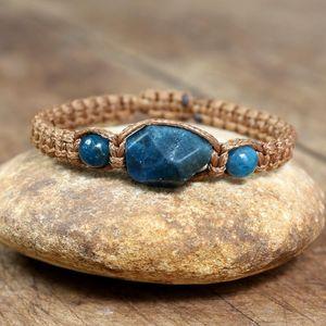 Pedra natural apatite pulseira mulheres homens handmade jóias cordas trançadas pulseira amizade charme yoga energia cura