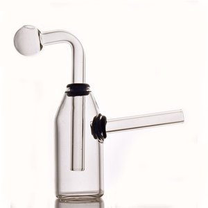 Mini Bubbler Glass Oil Burner bong Smoking tobacco pipe Portable Hand Dab Rig bong with Detachable Downstem pot 6styles for option