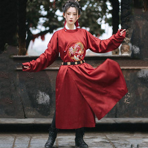 Chinese Drama Tang Dynasty Round Neck Long Robe Traditional Chinese Folk Dance Costumes Daily Hanfu Show Costume Men and Women