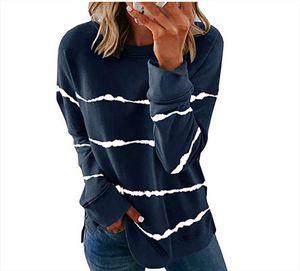 2020 New Autumn Tops 5XL Large Size Women Tie Dye Stripe T Shirt Casual Long Sleeve Oversized Loose Tee Shirt Fashion Ladies