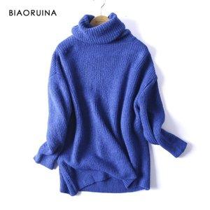BIAORUINA frauen Übergroße grundlegende gestrickte Rollkragenpullover-Pullover weibliche Rollkragenkragen-Kragen-Pullovers warme neue Ankunft 201211