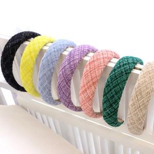 Plaid Laven Sponge Plain Hairband Fascia per le donne Accessori per capelli