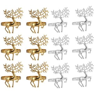 6PCS Christmas Napkin Holder Alloy High-quality Cute Durable Delicate Deer Napkin Ring for Bar Restaurant Christmas Party Dinner