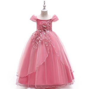5-14 Years Kids Dress Flower Long Lace Elegant Teenagers Prom Gowns Dresses Girl Party Kid Evening Bridesmaid Princess