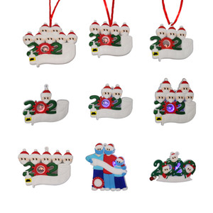 LED Christmas Quarantine Ornaments Personalized Toys Survivor Family Christmas Tree Lighting Ornament Decorations Party Favor DDC3635