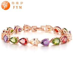 Multicolor Crystal High Quality Rose Gold Color Colorful Bracelet Zircon CZ Bracelets Jewelry for Women Wedding