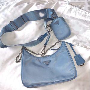 Crossbody Messenger Сумка Женщины Nylon Hobo Холст Сумка Донный Цвет с модой Универсальный стиль 3-х частей Набор набор цепи на молнии Luxurys дизайнеры сумка