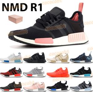 2021 뉴 망 실행 신발 NMD R1 트리플 태양 레드 화이트 블랙 복숭아 유럽 독점 블랙 블루 글로우 여성 스포츠 트레이너 운동화