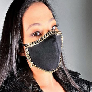 Bling Bling Pearl Face Mask Mask Fashion Metal Chain The Reousable Face Cover Cover White NightClub Дизайнерская маска YYA567