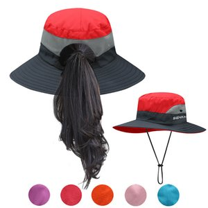 Summer Ponytail Hat for Women UV UPF Wide Brim Breathable Sun Hat Outdoor Hiking Fishing Bucket Waterproof Boonie Hat