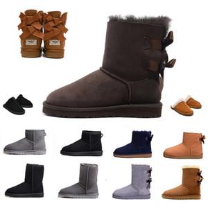 Меховые снежные женщины зимние сапоги кожаные классические Щелки наполовину длинные лодыжки черный серый кофе теплый Бейли лук женские ботинки девушки botte 36-41