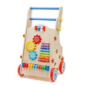 لعب طفل قابل للتعديل قابل للتعديل طفل ووكر للأطفال مع لعب طفل العمل متعدد العامل مع مركز لعب النشاط المتعدد - لون الخشب