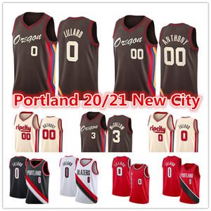 Neue Damian der Männer 0 Lillard Jersey Carmelo 00 Anthony CJ C.J. 3 McCollum Red PortlandWegBlazer2021 Stadtbasketballtrikots
