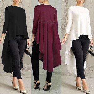 2020 Trend Moda Donna Asimmetrica Cascata Asimmetrica Cascata a maniche lunghe Tops Alta bassa primavera New Casual Pullover T-shirt Long T-shirt